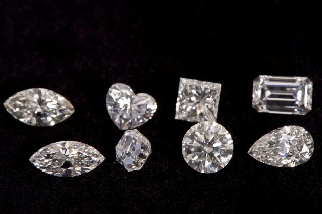 The most commonly used cuts in diamonds (back to front, left to right): Marquise, heart, princess, emerald, marquise, asscher, brilliant, pear.