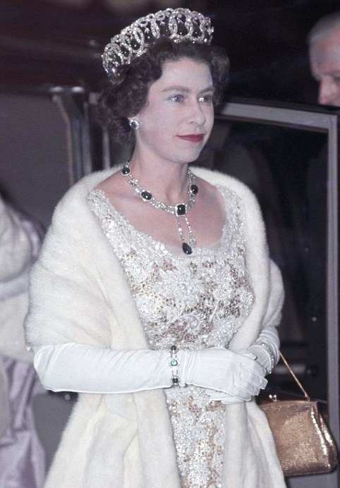The Queen wearing the Grand Duchess Vladimir tiara with the rest of the Cambridge emeralds.  The necklace is also hung with a cleaving from the Cullinan diamond.