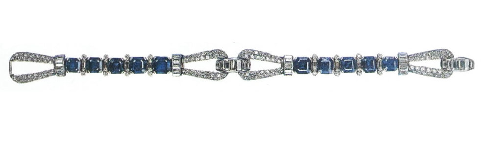 18th Birthday Present: the art deco sapphire and diamond bracelet the Queen was given by her father George VI to mark her landmark birthday.