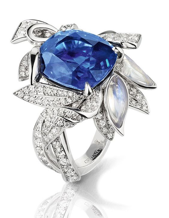 Chaumet's sapphire, diamond and moonstone laurel ring, from the collection 'La Nature de Chaumet'.