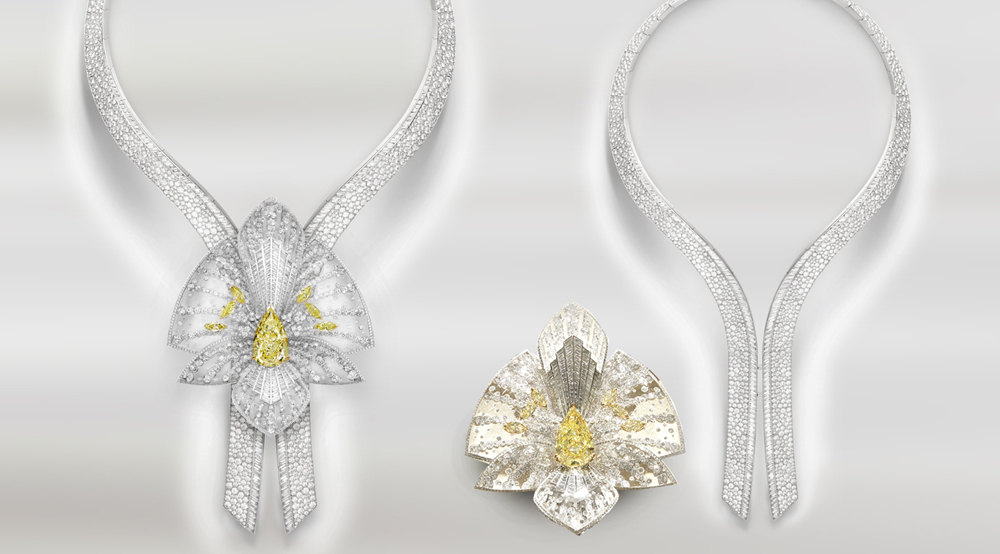 Two-in-One: the flowerhead on Boucheron's Lys Radiant necklace is detachable and may be worn as a brooch.
