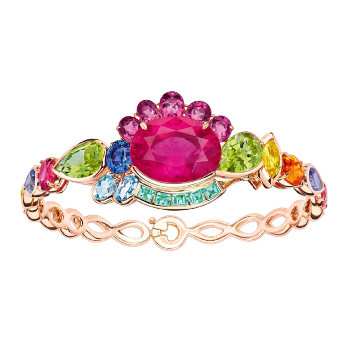 Victoire de Castellane is irreverent in mixing up stones, as shown in this Dior Granville Rose bracelet.