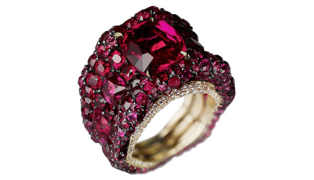 'Emotion' ring by Faberge in rubies and black gold.