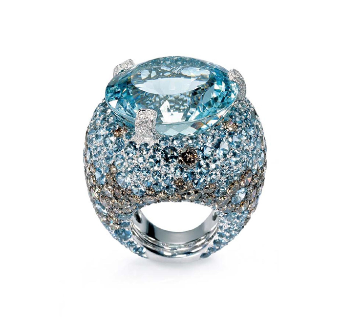A contemporary aquamarine and diamond ring by De Grisogono.