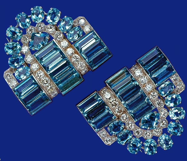 The Cartier clips of Elizabeth II, exhibiting examples of the many ways aquamarine can be cut.