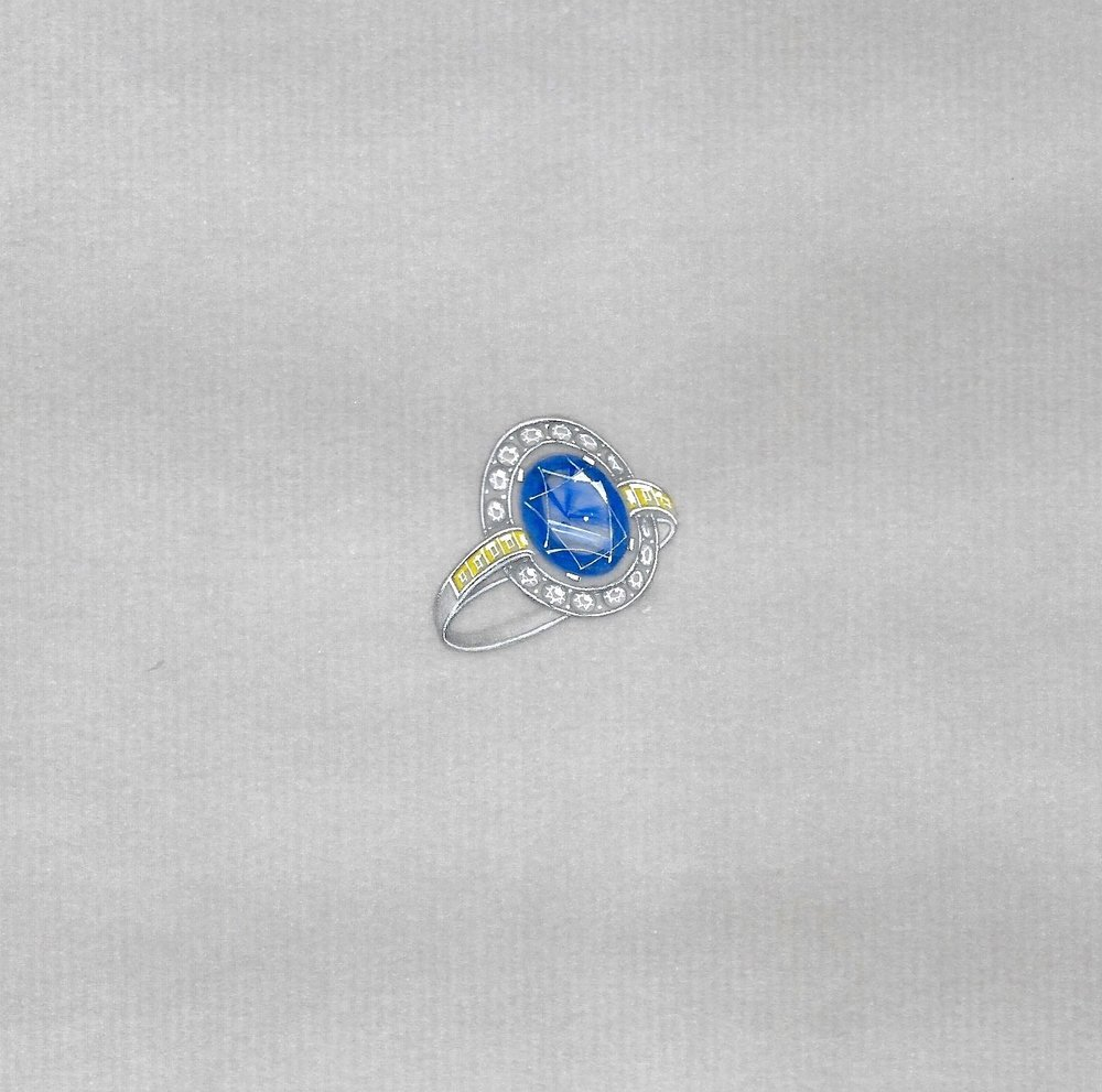 Art Deco sapphire ring: the working drawing.