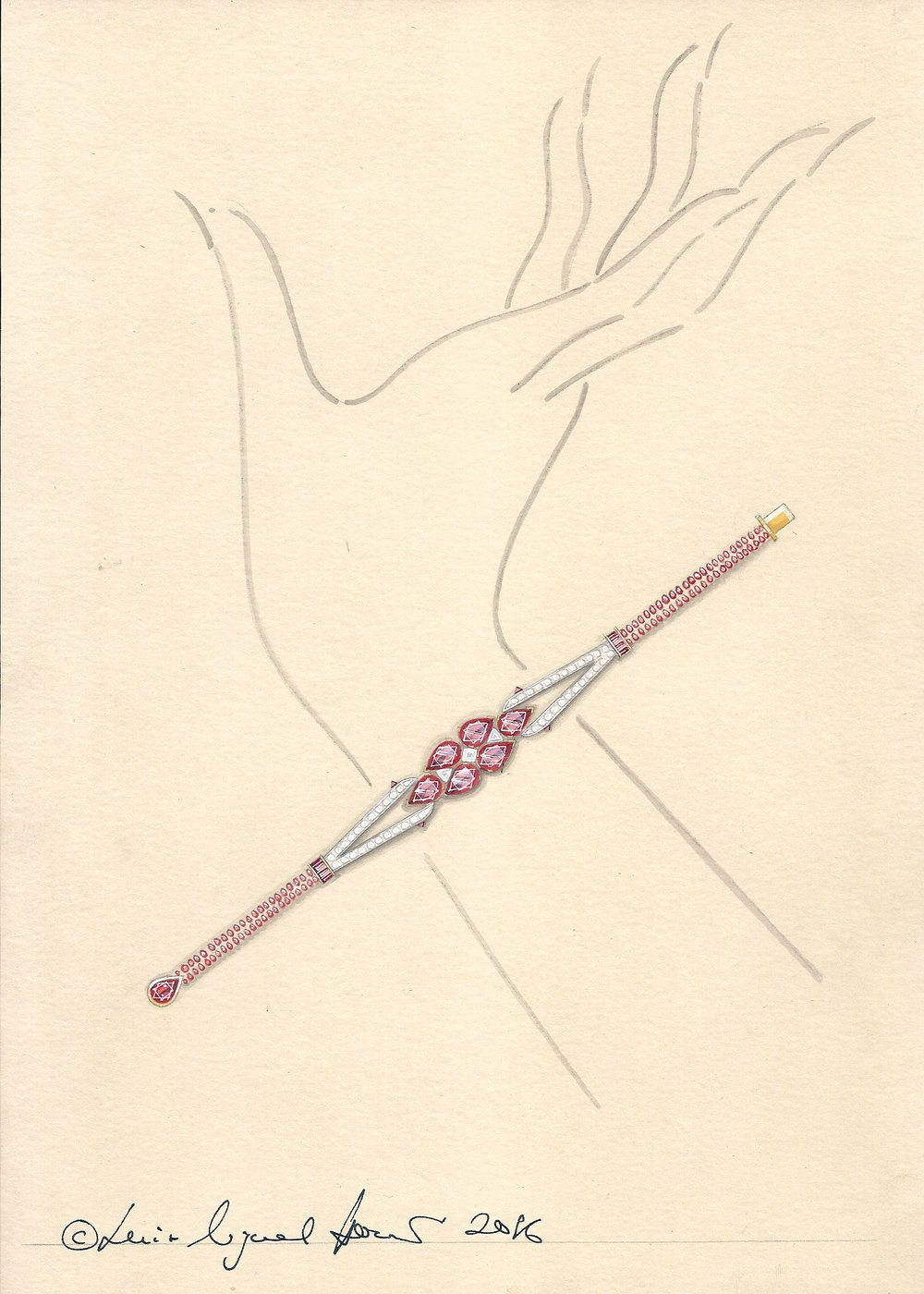 The Burmese Ruby bracelet: the working drawing.