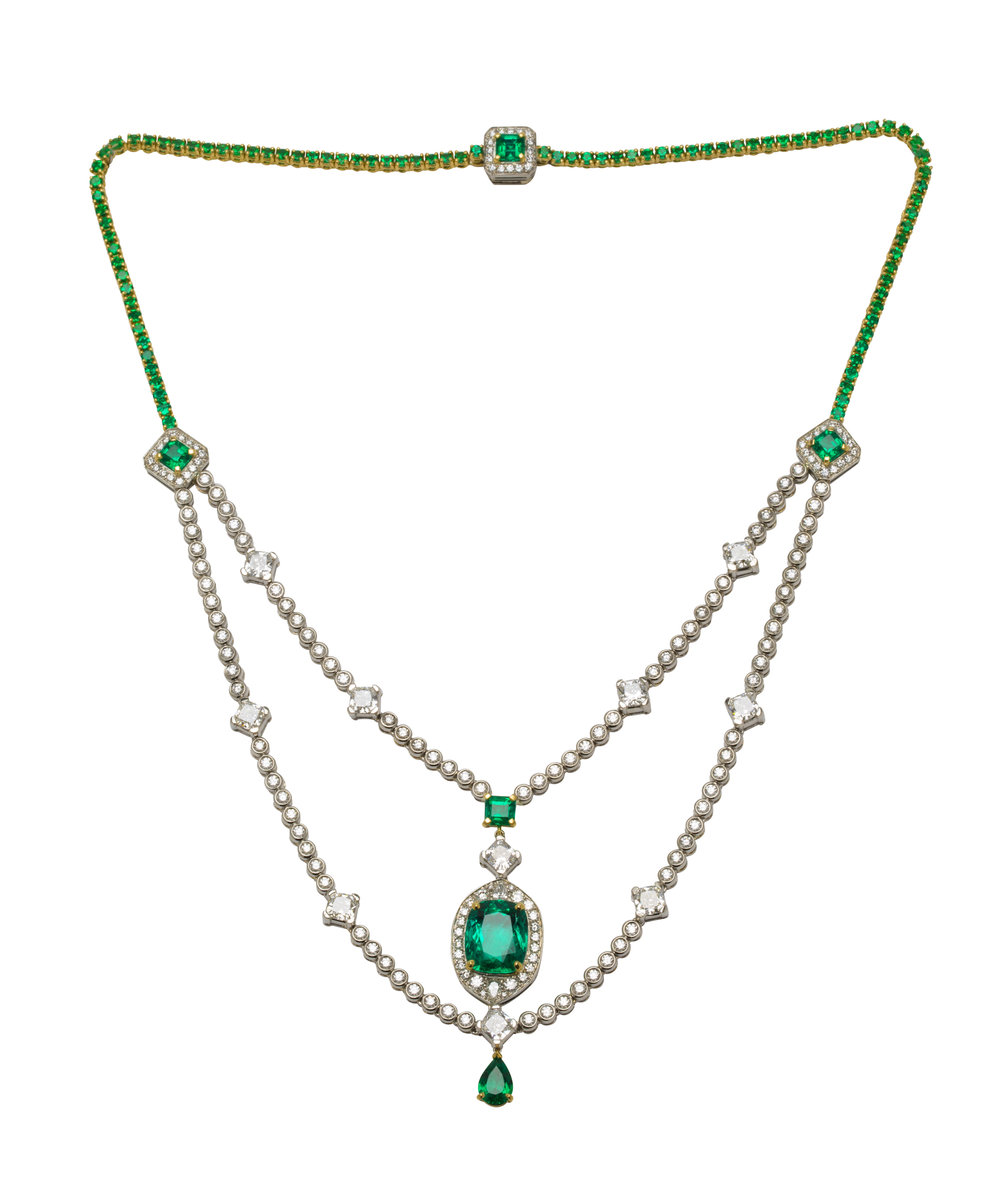 An important bespoke Colombian emerald and diamond necklace commissioned as a birthday present.  It was inspired by the great jewels executed for the Indian Maharajas in the 1930s.