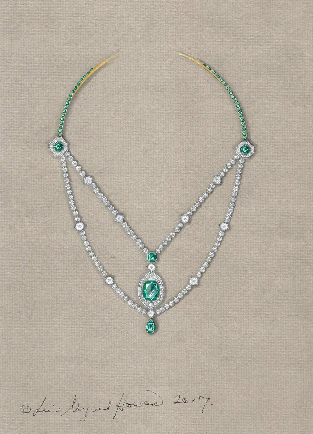Working drawing for the Colombian emerald and diamond necklace