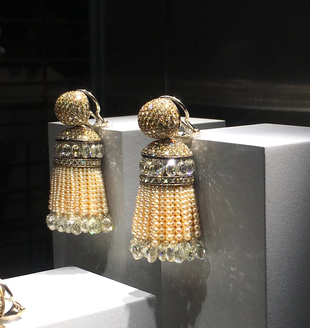 A pair of Indian style tassel earrings in pearls and diamonds by Hemmerle.