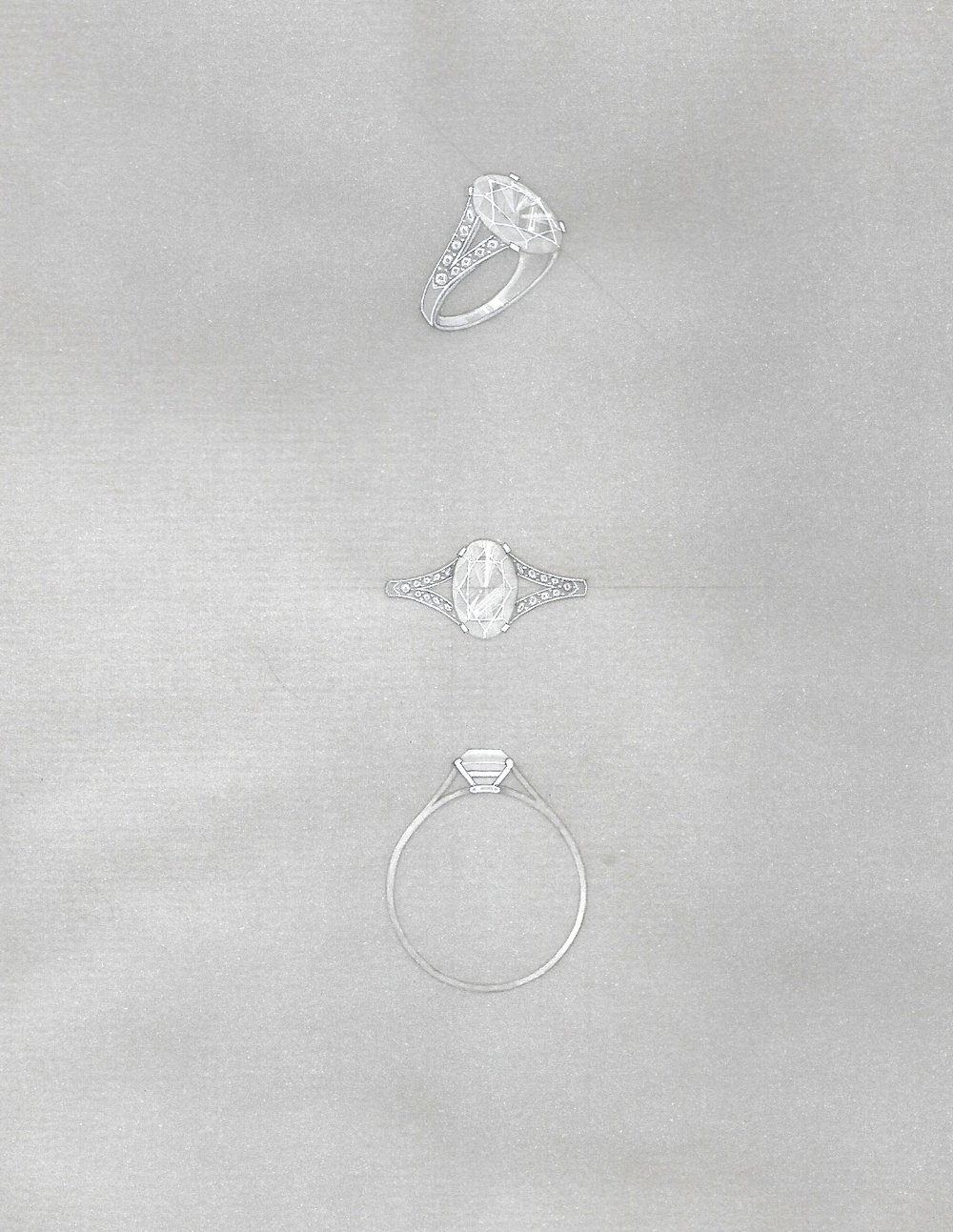 The working drawing for a bespoke engagement ring in diamonds and set in white gold.