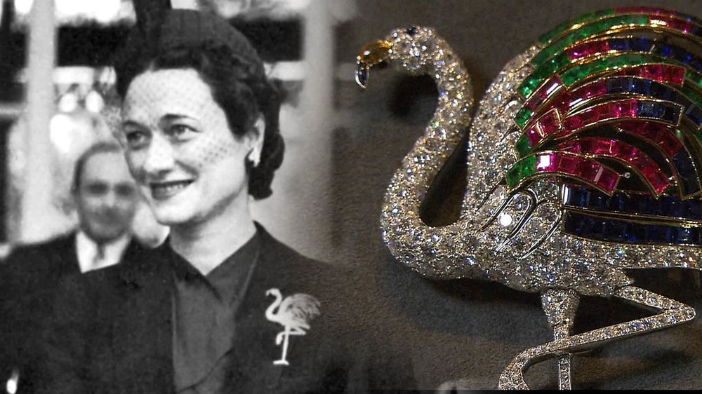 The Duchess of Windsor and the coloured flamingo brooch made for her in 1940.