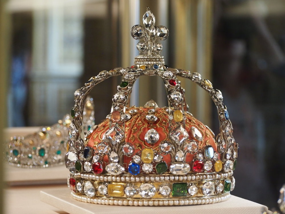The Crown of Louis XV at the Louvre.  It is decorated with paste replicas of the important stones that once adorned it, including some of the famous Mazarin diamonds and the Sancy diamond on top.