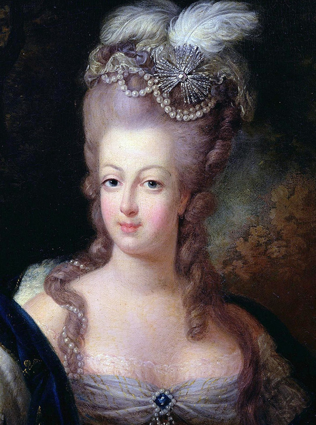A State portrait of Marie Antoinette.  She is thought to be wearing the Hope diamond at her breast.