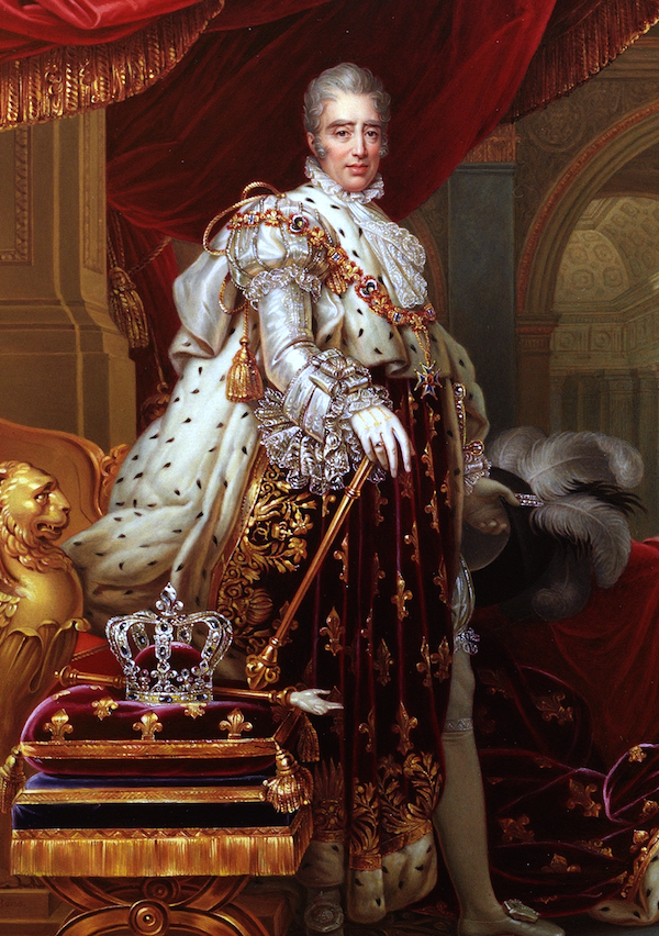 The reactionary Charles X of France dressed in Coronation finery.  Note the magnificent diamond crown made for his sacre by Bapst on a cushion next to him.
