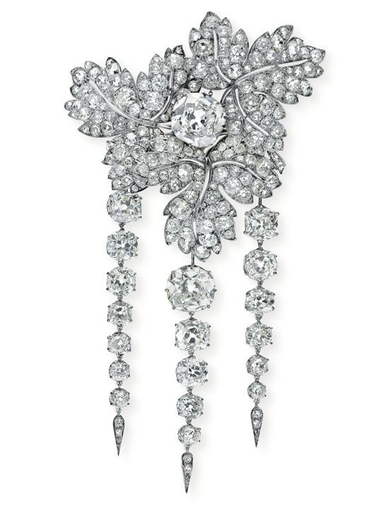 The Empress Eugenie's currant diamond brooch, one of the very few surviving from a set of 30.
