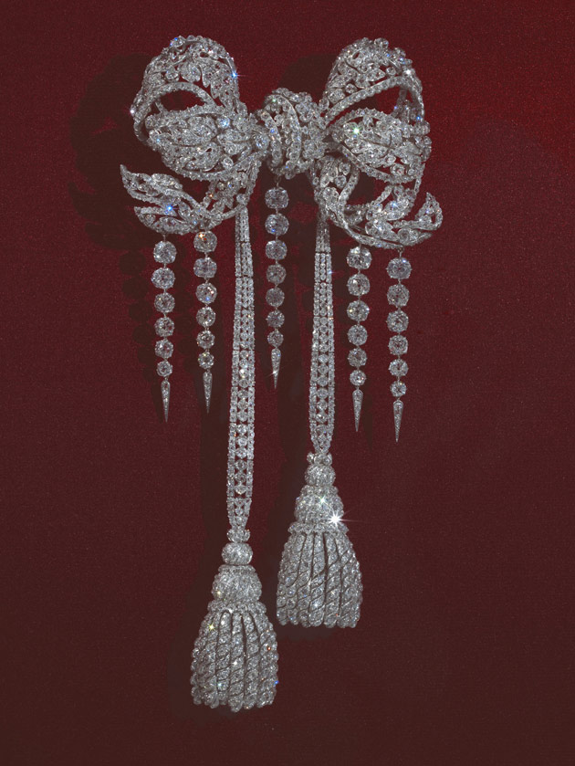 The Empress Eugenie's corsage bow brooch by Bapst, reflecting her love of the 18th century.