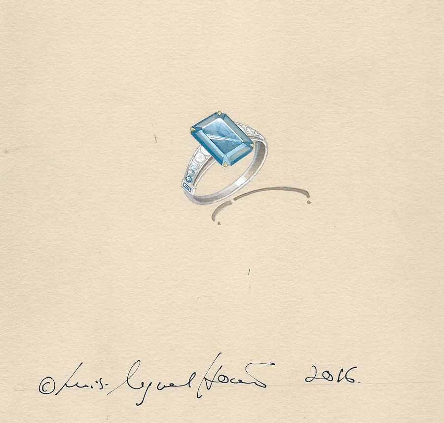 The working drawing for the bespoke aquamarine ring.