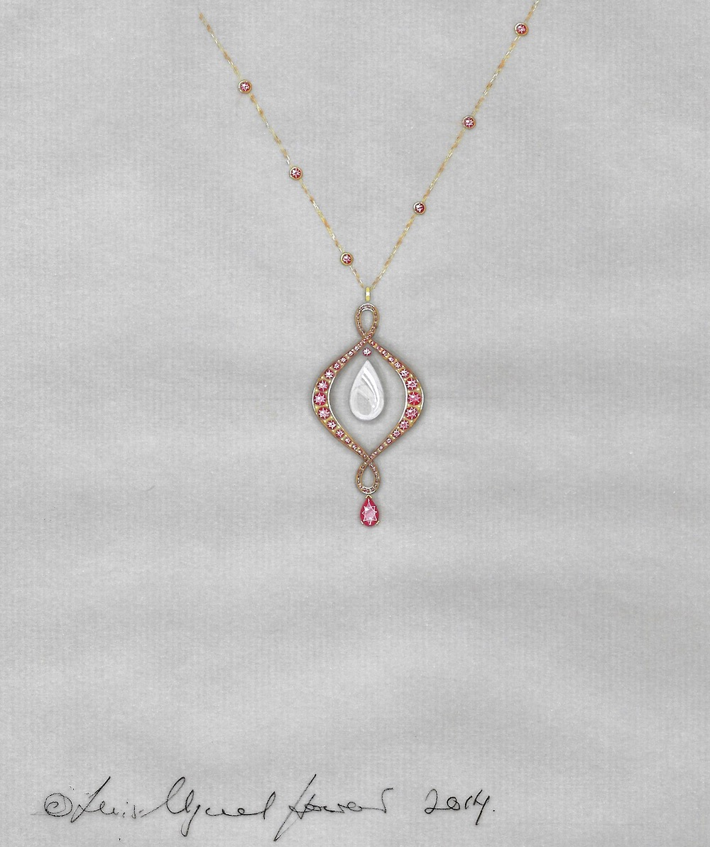 The working drawing for the ruby and pearl pendant.