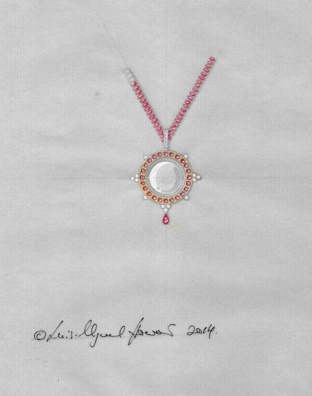 One of the options presented for the ruby and pearl pendant.