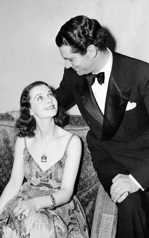 Vivien Leigh and Laurence Olivier shorty after their marriage.  Their feelings for each other are plainly written on their faces.