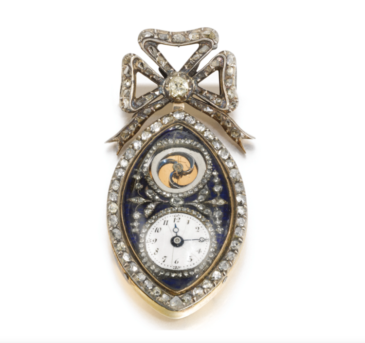 Vivien`s important 19th century blue enamel, gold and diamond fob watch.