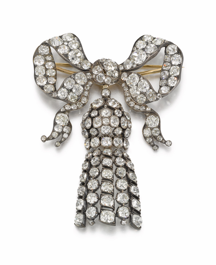 Vivien Leigh`s 19th century diamond bow brooch with detachable tassel.