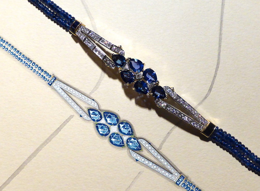 A detail of the Art Deco style sapphire and diamond bracelet next to the working drawing.