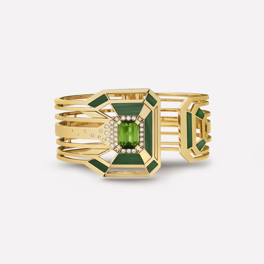 My Green Cuff, by Chanel, in diamonds, tourmaline and malachite.