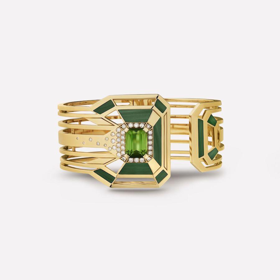 My Green Cuff, by Chanel, in diamonds, tourmaline and malachite.