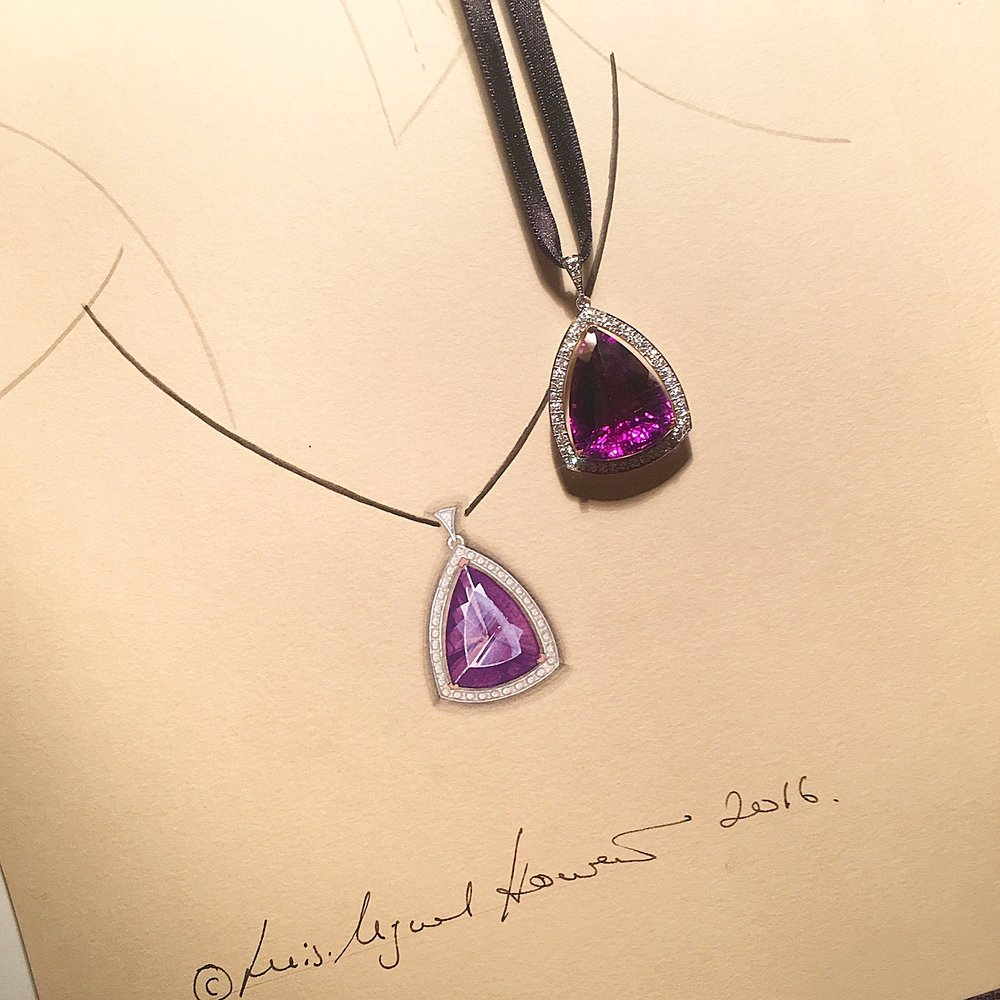 The amethyst and diamond pendant pictured next to its original working drawing.