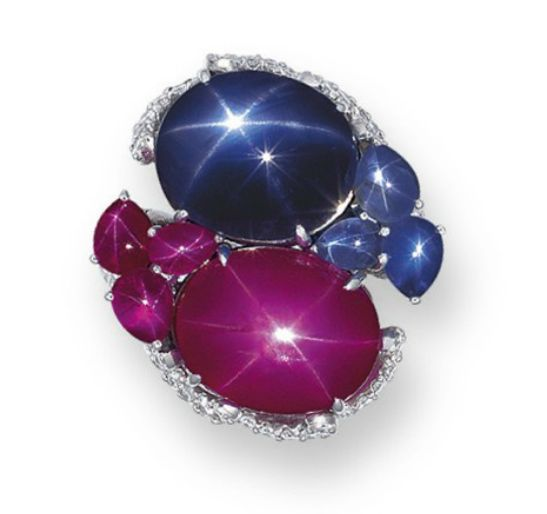 A valuable ring set with impeccable star rubies and sapphires.