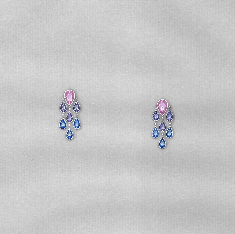 Diamond and sapphire earrings: second concept.