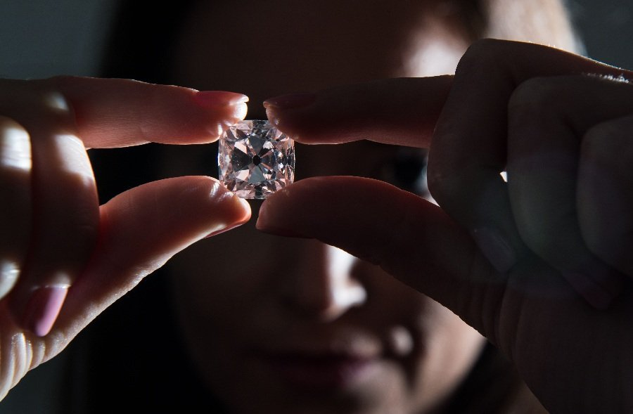 A publicity photograph of the Grand Mazarin diamond, due to be auctioned by Christie's Geneva next month.
