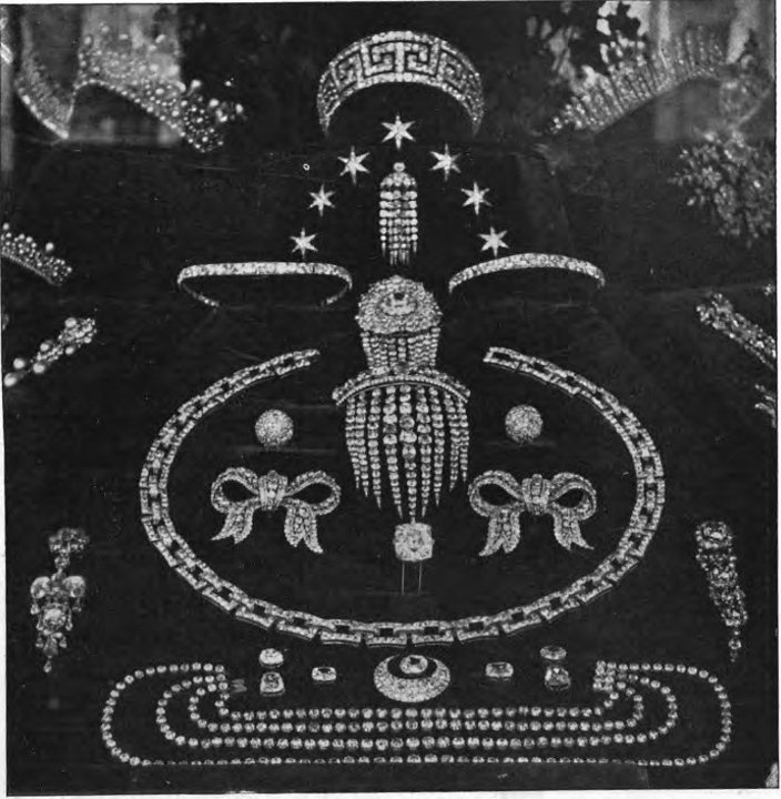 A contemporary photograph of the French Crown Jewels before they were auctioned by the French Government in 1884.