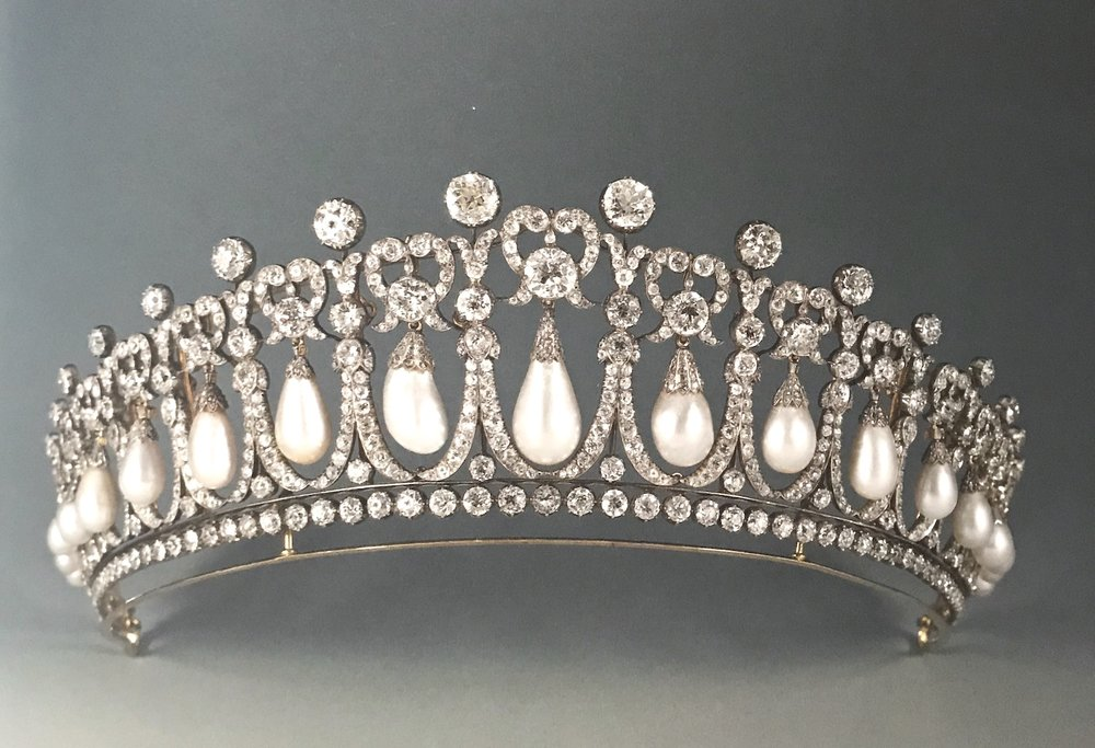 The pearl and diamond Lover's Knot tiara, made by Queen Mary and passed down to her descendants.