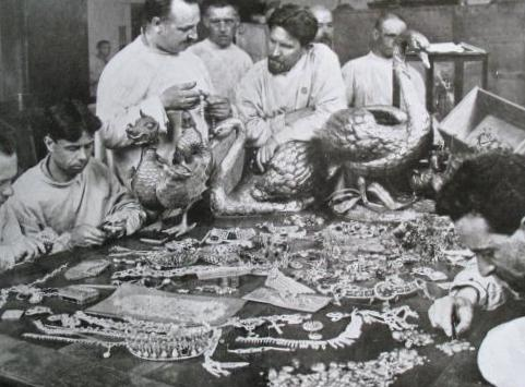 A Bolshevik committee evaluating Tsarist treasure.  The Youssoupov tiara can be seen at the bottom left hand corner.