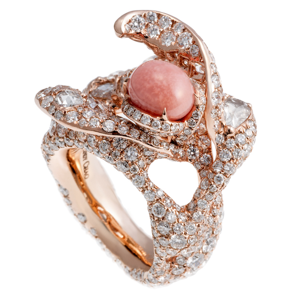 Conch pearl, rose gold and diamond bee ring by Cindy Chao.