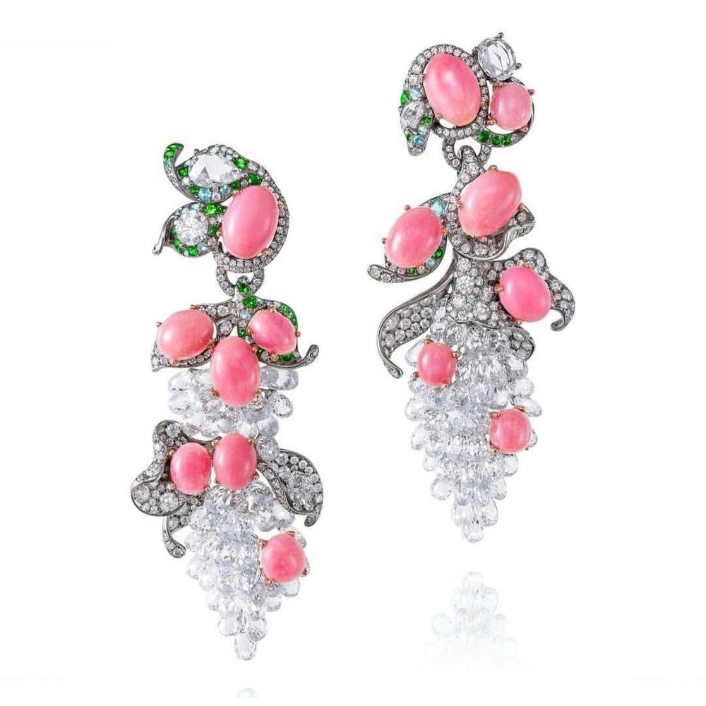 Diamond, conch pearl and coloured gem earrings by Anna Hu.