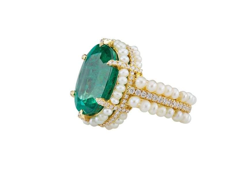 A pearl, emerald and diamond ring from Al Zain's pearl collection.