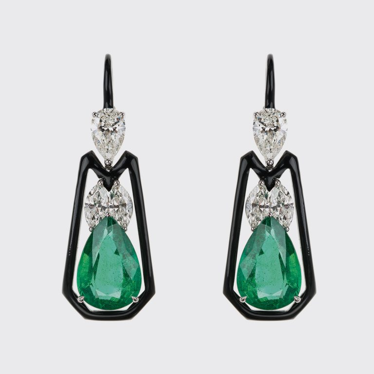 Emerald, diamond and black enamel earrings by Nikps Koulis.