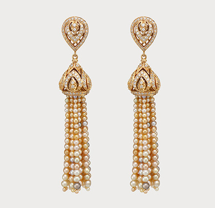 Pearl and diamond tassel earrings by Mattar Jewelers.