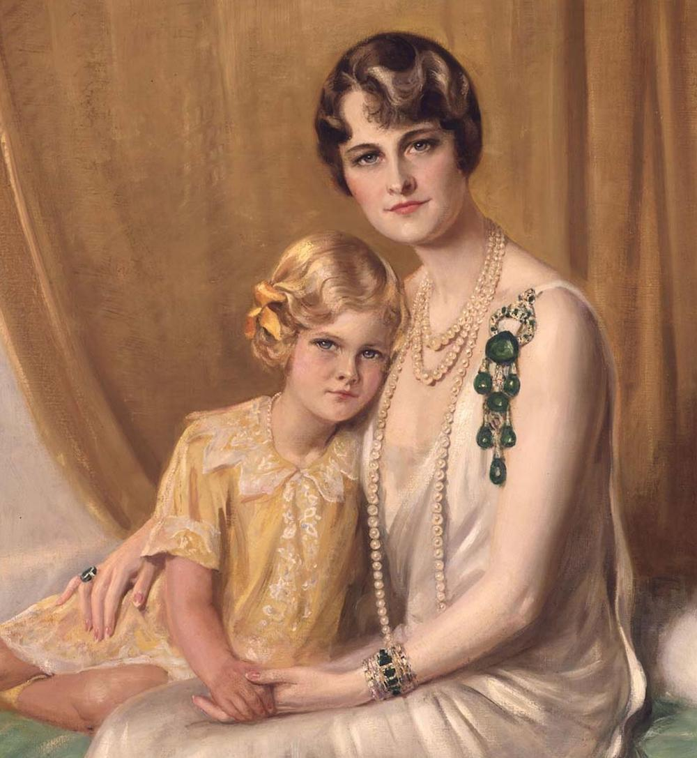 A portrait of Marjorie Merriweather Post wearing the Cartier brooch, amongst other jewels.  The brooch Is such a piece that the painter has clearly made it the focus of his attention, rather than the sitters.