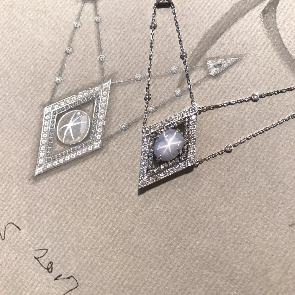 Detail of the star sapphire necklace with its working drawing.