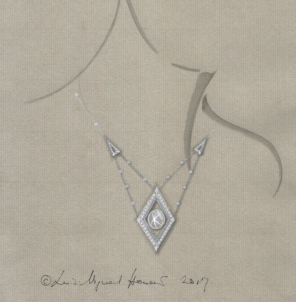 Working drawing for the star sapphire necklace in ink and gouache.
