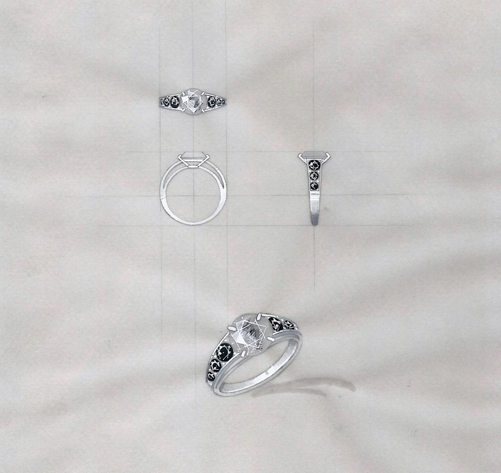 Technical drawing for the grey and black diamond engagement ring.