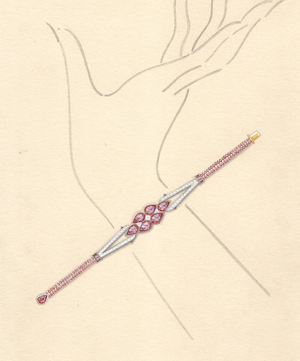 Working drawing for the Burmese ruby and diamond bracelet.