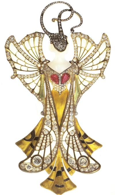 Fairy pendant by Henri Vever.  Note the slight asymmetry of the jewel so beloved by Art Nouveau designers.