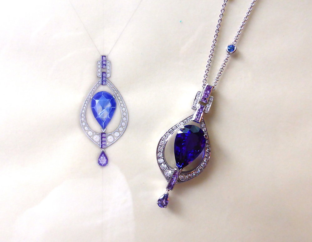 The bespoke tanzanite and diamond pendant shown next to its original working drawing in gouache and Chinese ink.