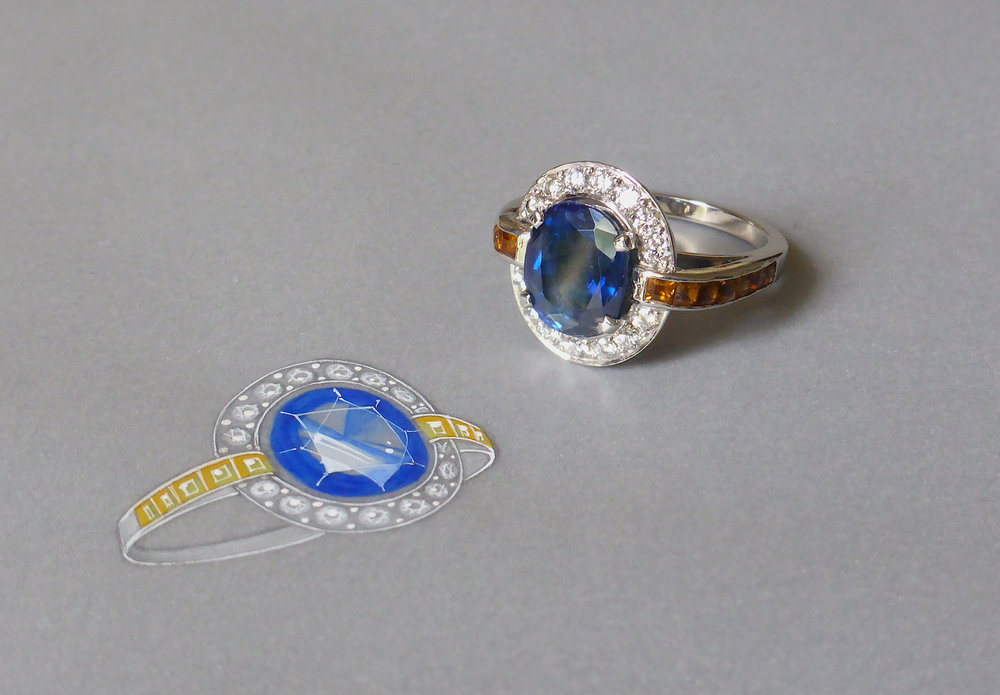 A bespoke sapphire, diamond and citrine ring with its working drawing.